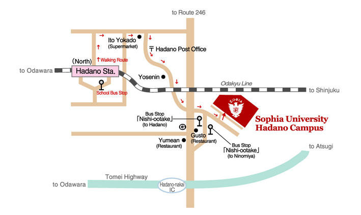 Direction to Hadano Campus